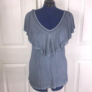 NWOT Angels 2X shawl collar crochet blue knit top
